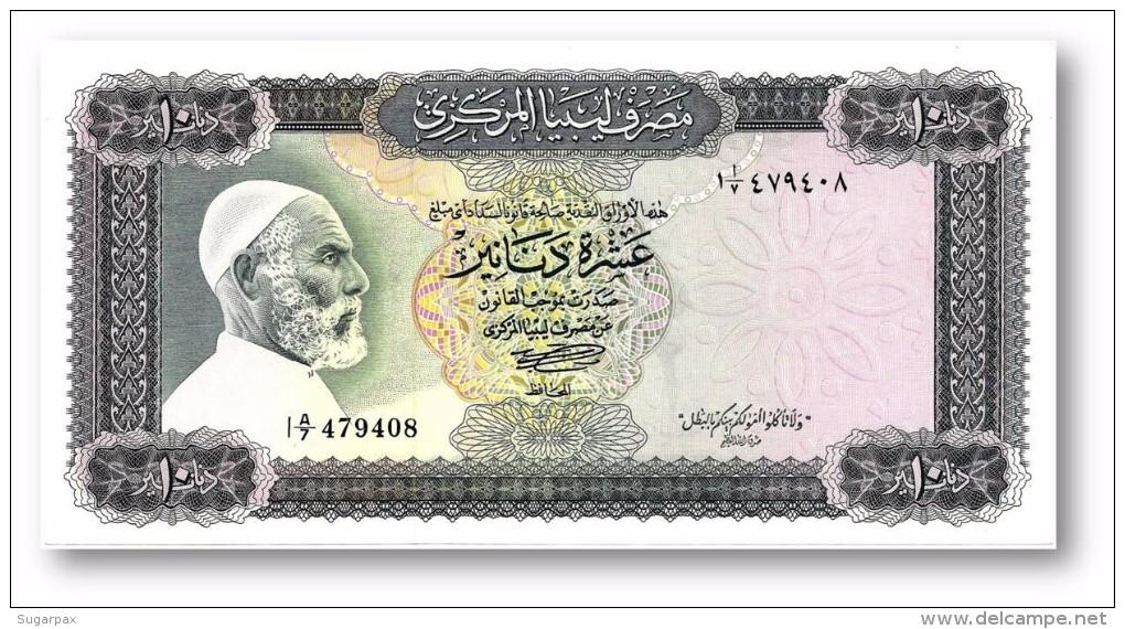 LIBYA - 10 Dinars - (1972 ) With Inscription - P 37.b - AUnc. - Sign. 1 - Serie I A/7 ( 192 X 95 ) Mm - 2 Scans - Libye