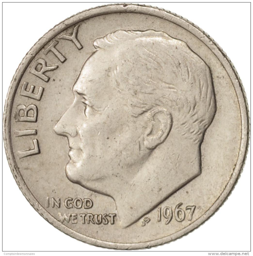 États-Unis, Roosevelt Dime, 1967, Philadelphie, TTB+, KM:195a - Bondsuitgaven