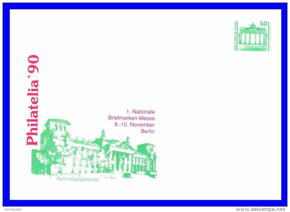 """2949 (Yvert) Sur Enveloppe Illustrée - Exposition Philatélique """"Philatelia 90"""" Reichstagsgebäude - RDA 1990 - Private Covers - Mint"""