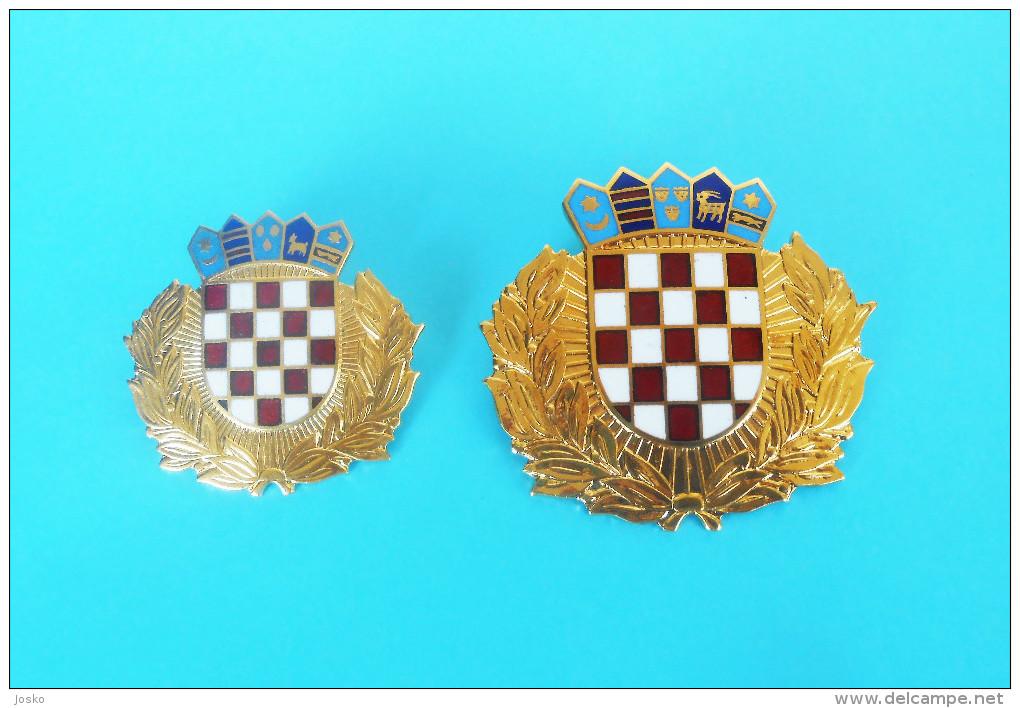 CROATIAN POLICE - Large Enamel Hat And Beret Badge By IKOM * Set Of 2. * Gendarmerie Gendarmeria Policia Polizei Polizia - Police