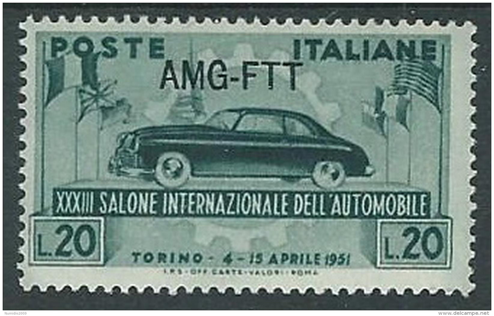 1951 TRIESTE A SALONE DELL'AUTO DI TORINO MH * - P21 - Ungebraucht