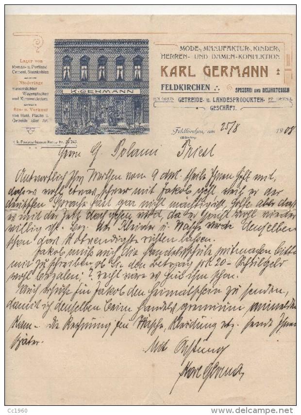 "Austria - Feldkirchen - Fattura Della Ditta ""Karl Germann "" Datata 25.08.1908 - (BPLAST6) - Austria"