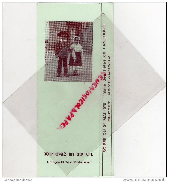 87 - LIMOGES -SALLE DES FETES LANDOUGE- MENU 33 E CONGRES COOP PTT-MAI 1978- TRAITEUR BOUBY - Menus
