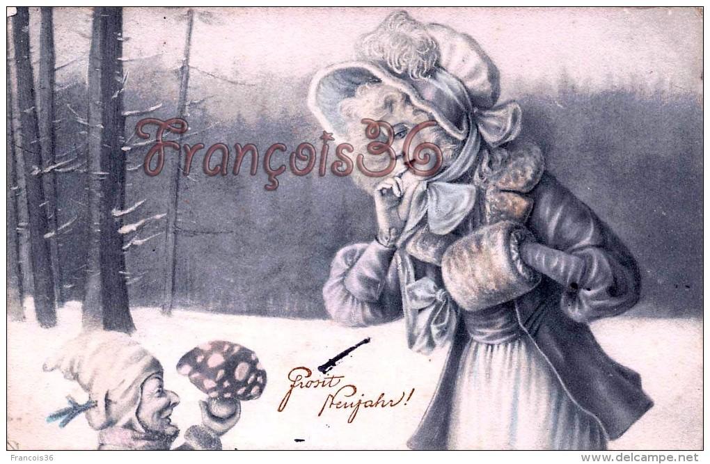 Grosit Neujahr - Lutin Gnome & Amanite Tue Mouches Jeune Femme  - Wien Vienne Viennoise - Fairy Tales, Popular Stories & Legends