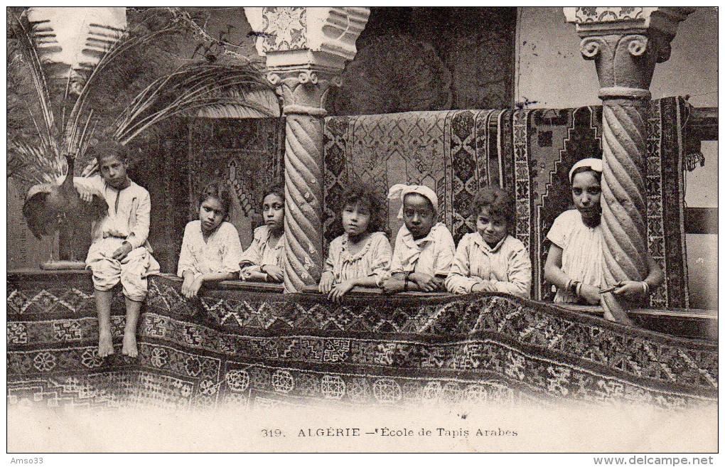 6936. CPA ALGERIE. ECOLE DE TAPIS ARABES. CACHET ECOLE PROFESSIONNELLE INDIGENE..MME DELFAU FONDATRICE - Algérie