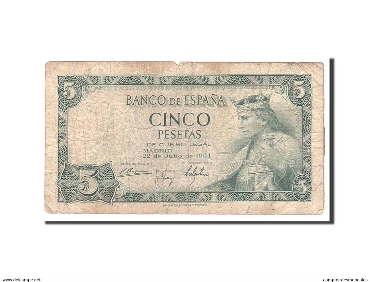 Espagne, 5 Pesetas, 1954, KM:146a, 1954-07-22, B - [ 3] 1936-1975 : Régence De Franco