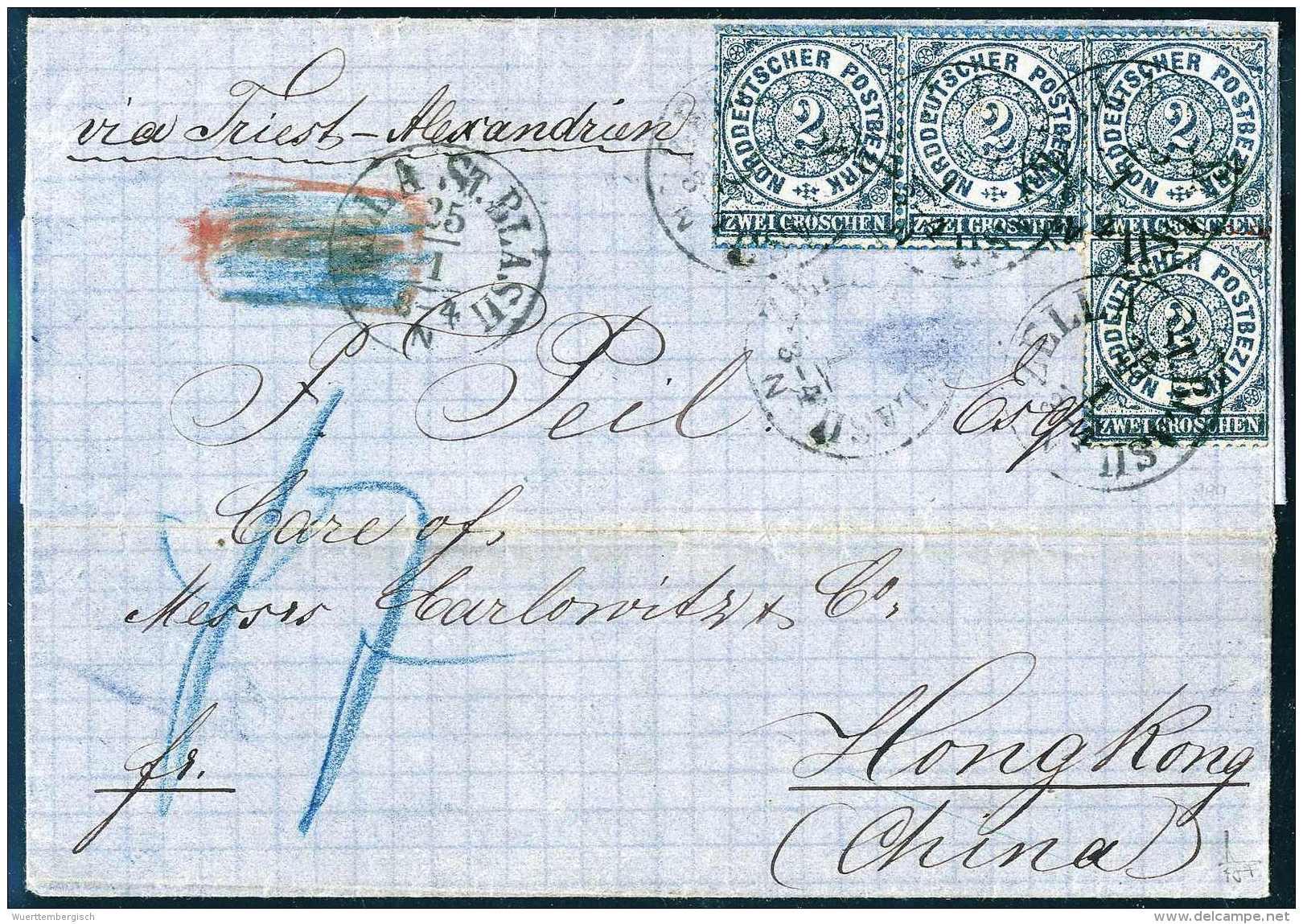 8-Groschen-Frankatur Via Triest Nach China: 2 Gr., Waagr. Paar Und Zwei Einzelstücke Auf Blauem Faltbrief Nach... - Stamps