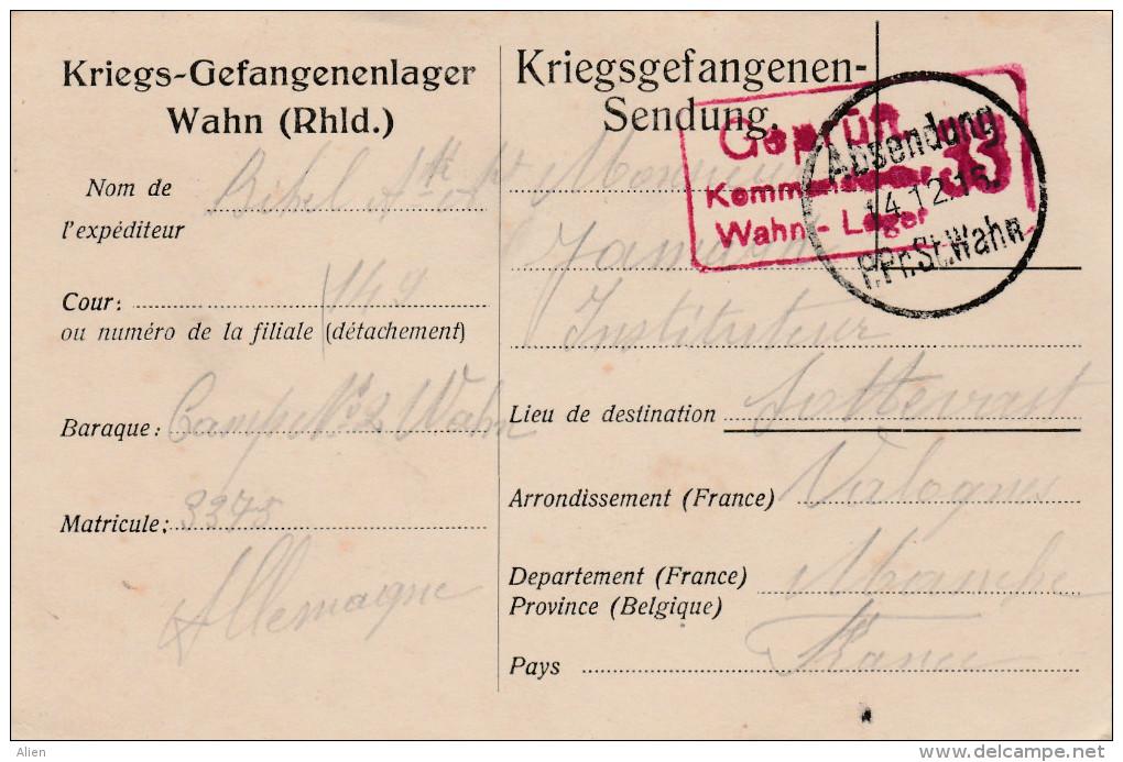 """POW Camp N°2 Wahn 1915 Naar Frankrijk - """"geprüft Kommandantur Wahn Lager 33"""". - Prisonniers"""