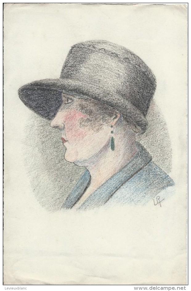 Dessin D´amateur/Crayon /L RACLET/Non Encadré/Tête Profil De Femme/vers 1935   GRAV151 - Dessins