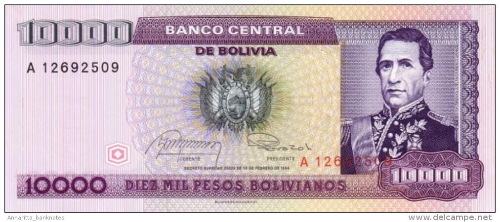 BOLIVIA 10000 PESOS BOLIVIANOS 1984 P-169 UNC ROSSEL & PRADO GAUCHALLA [BO169] - Bolivia