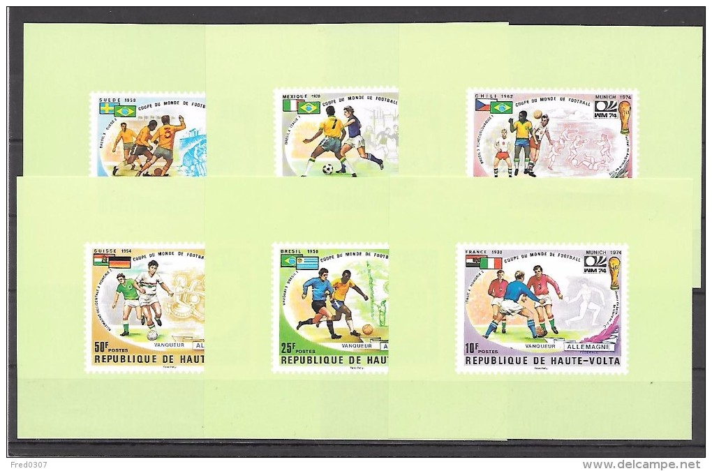 Haute Volta Série Complète 6 Blocs ND/imperf/B CM 74 ** - Fußball-Weltmeisterschaft