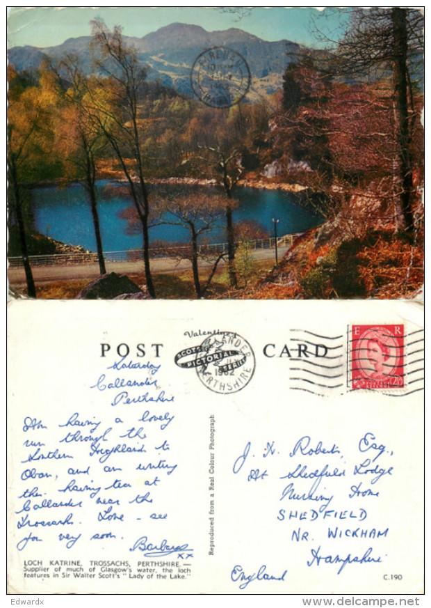 Loch Katrine, Trossachs, Perthshire, Scotland Postcard Posted 1962 Stamp - Perthshire