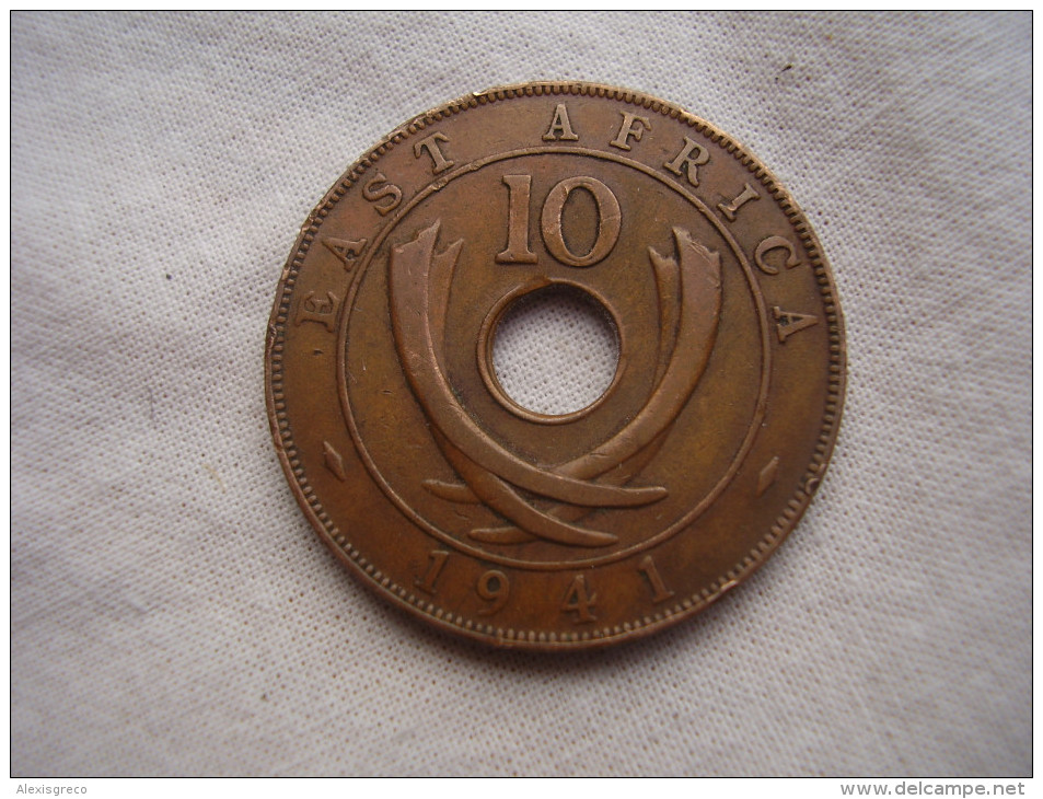 BRITISH EAST AFRICA USED TEN CENT COIN BRONZE Of 1941 - GEORGE VI From Mint I. (HG10) - British Colony