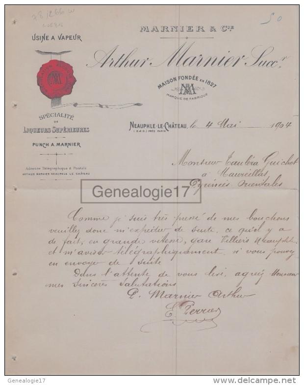 78 266W NEAUPHLE LE CHATEAU SEINE OISE 1904 Distillerie Usine à Vapeur ARTHUR MARNIER Punch A TAULERA - 1900 – 1949