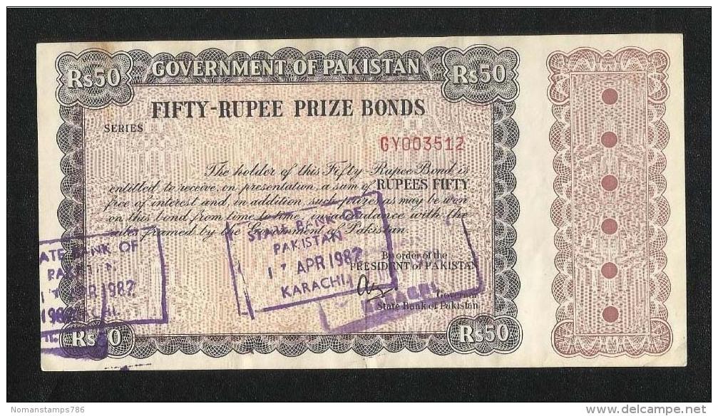 Pakistan Old 50 Rupees Prize Bond Used - Pakistan