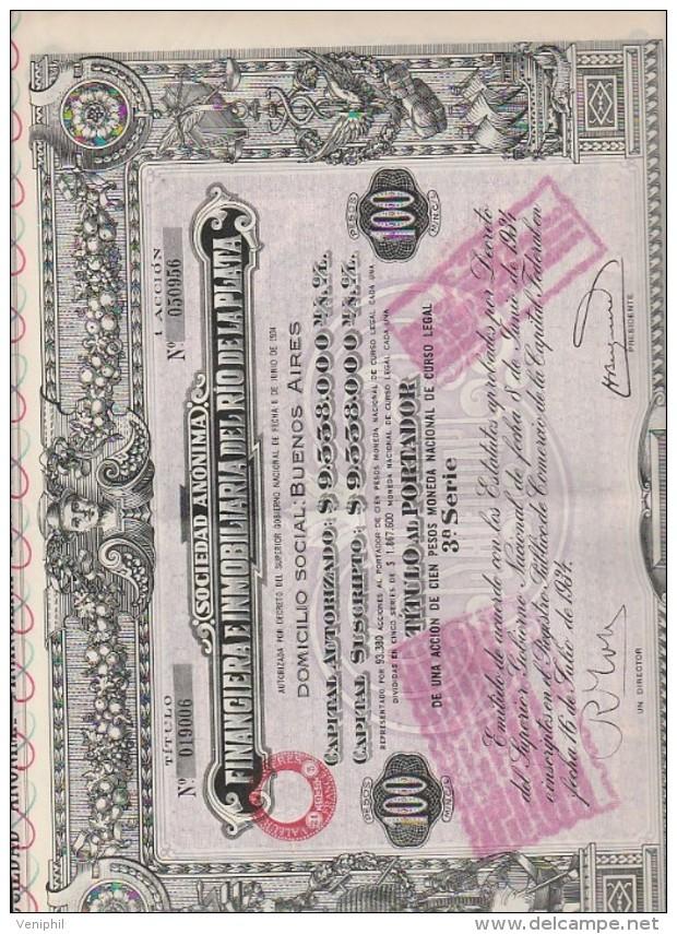 ARGENTINE - ACTION ILLUSTREE  100 PESOS -FINANCIERE IMMOBILIERE DE RIO DE LA PLATA -ANNEE 1932 - Banque & Assurance