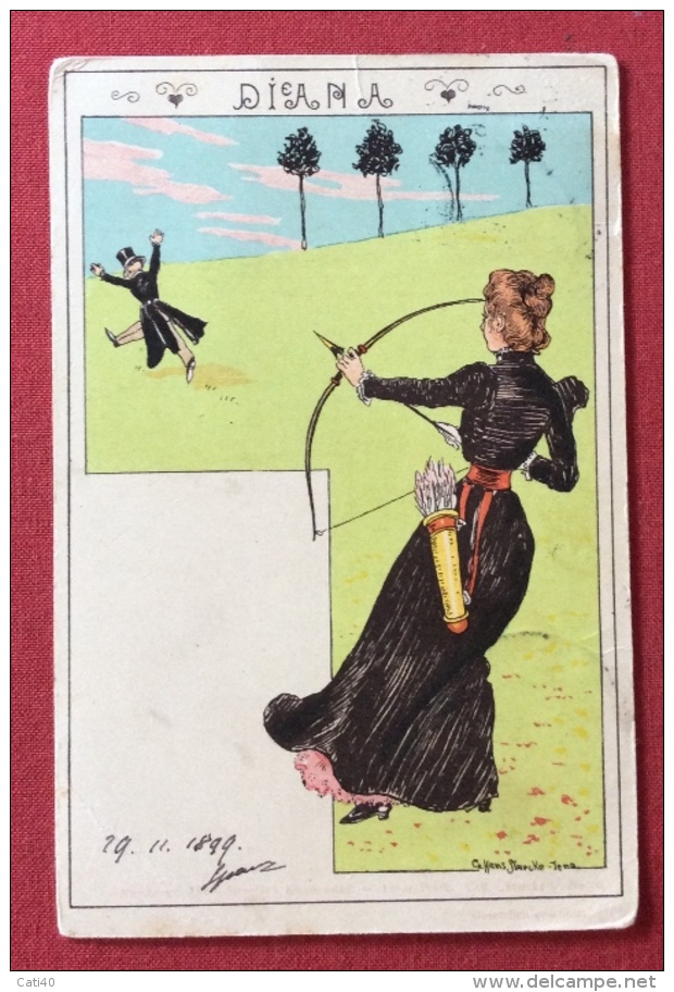 TIRO CON L'ARCO DIANA CARTOLINA D'AUTORE VIAGGIATA DA VIENNA A TRIESTE IN DATA 29/11/1899 - Tir à L'Arc