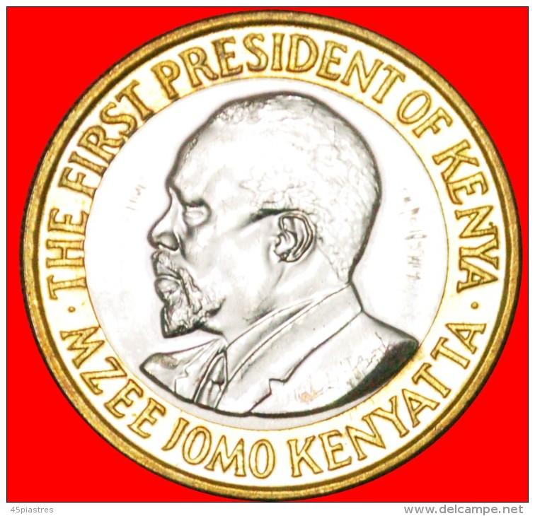 § BI-METALLIC: KENYA ★ 10 SHILLINGS 2010! LOW START ★ NO RESERVE! Mzee Jomo Kenyatta (1964-1978) - Kenya