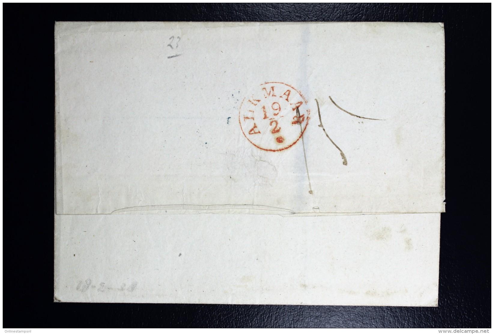 Cover 1836 Franco Boven, Amsterdam Naar Oud Karspel Op Langedijk Via Alkmaar - Niederlande
