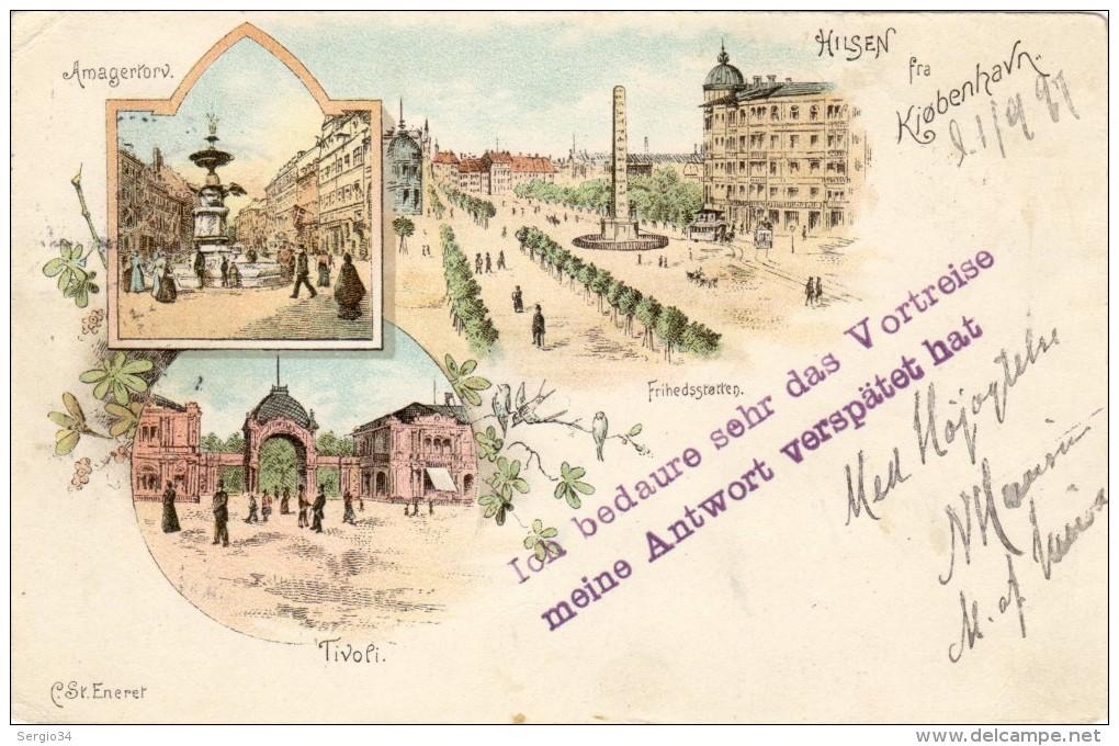 1897-pregiata Gruss Dalla Danimarca A Trieste - Danimarca