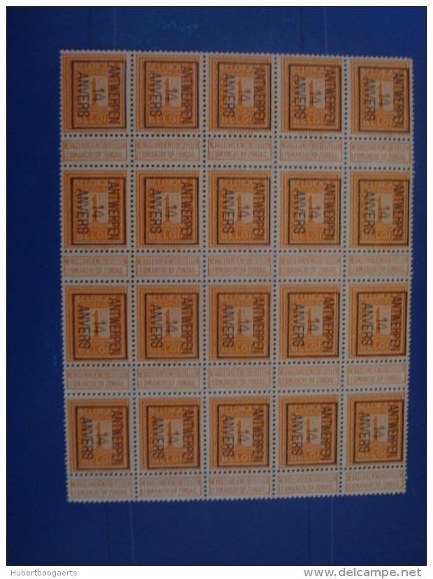 BELGIQUE : Preo 44b ANTWERPEN/ANVERS 14 XX / X 20 - Typo Precancels 1912-14 (Lion)