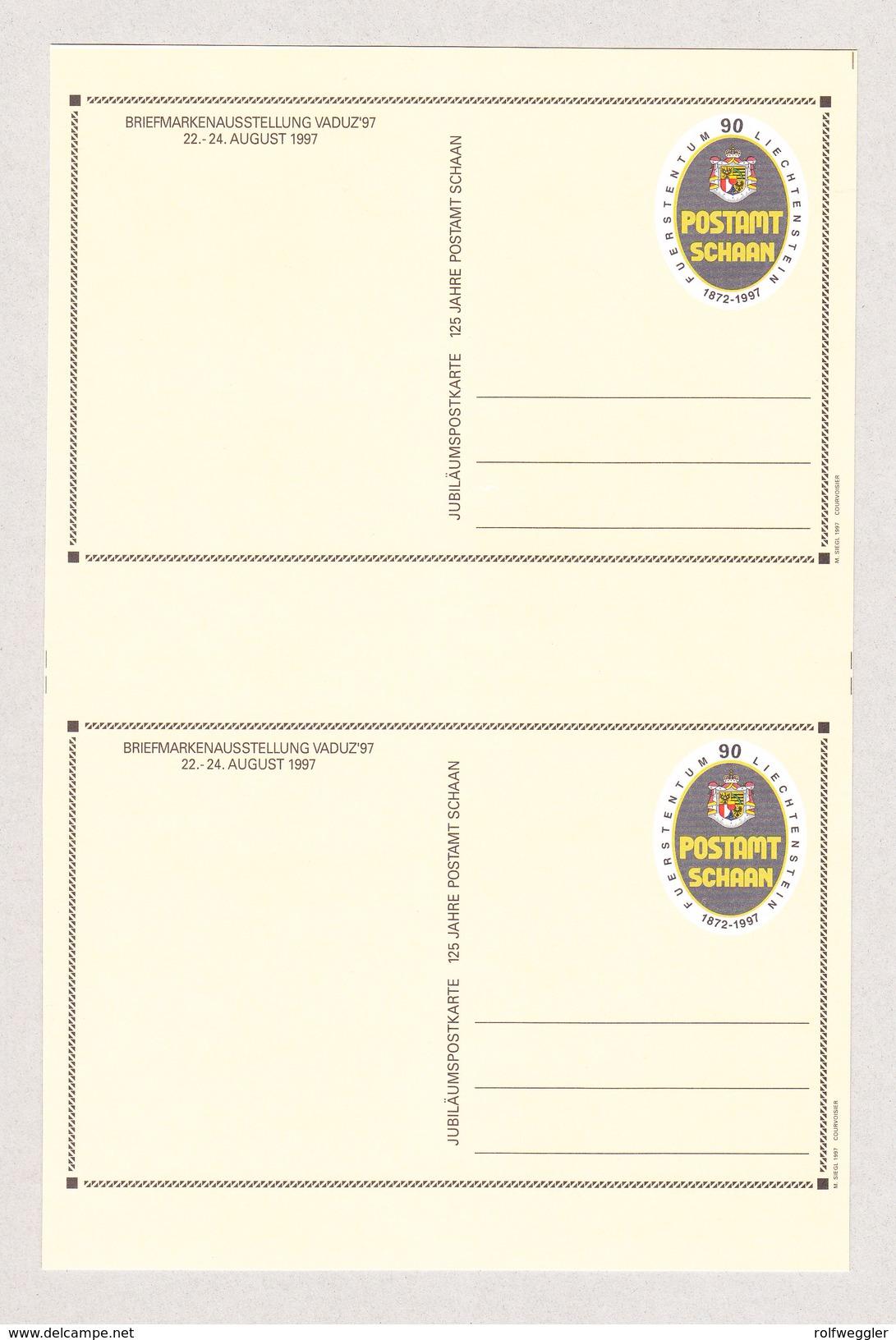 FL Liechtenstein Ganzsache 1997 Ungetrenntes Paar (selten) - Entiers Postaux