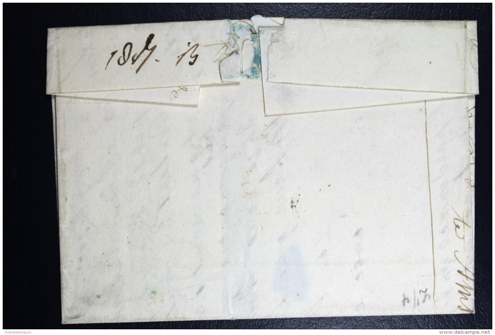 Complete Brief 1847 Poste Restante Amsterdam (gekapt)naar Leiden - Niederlande