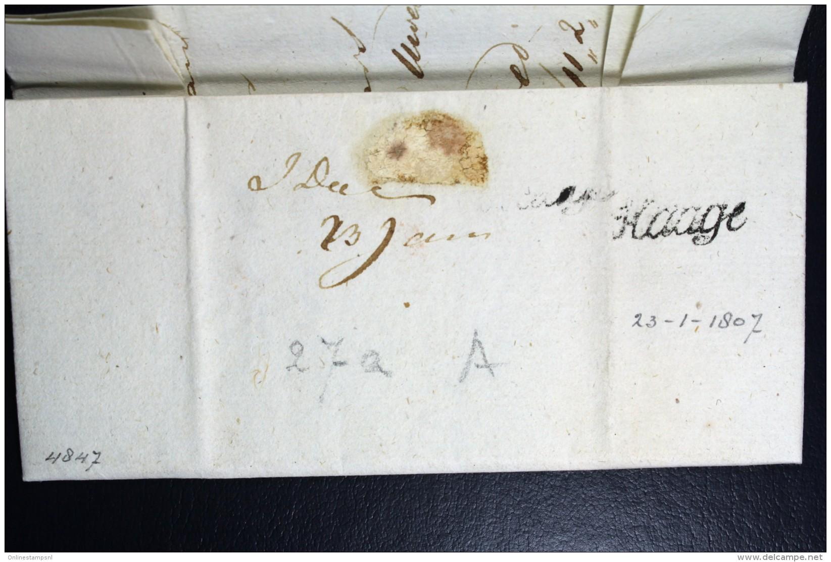 Complete Brief 1807 (gekapt) Den Haag Geuzendam 15 Naar Schiedam - Niederlande