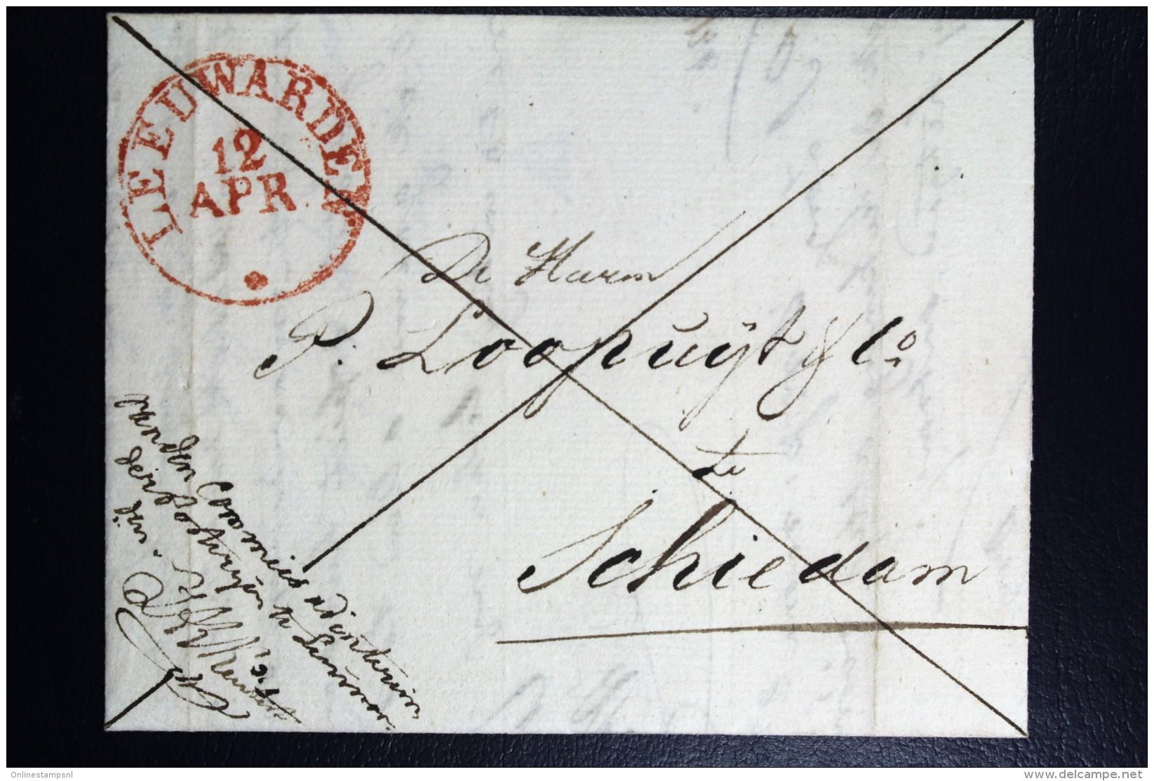 Complete Brief 1834 Aangetekend Leeuwarden Naar Schiedam - Niederlande