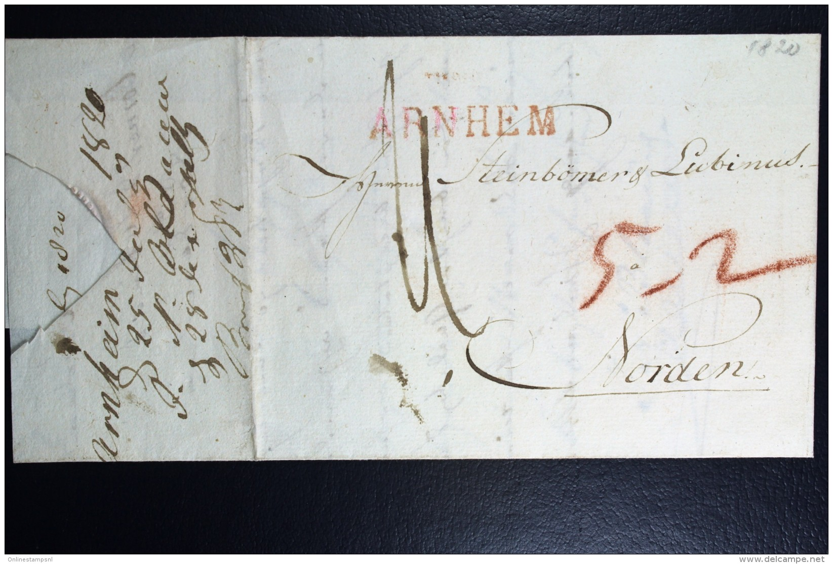 Complete Brief 1820 Arnhem Gekapt Naar Norden Duitsland - Niederlande