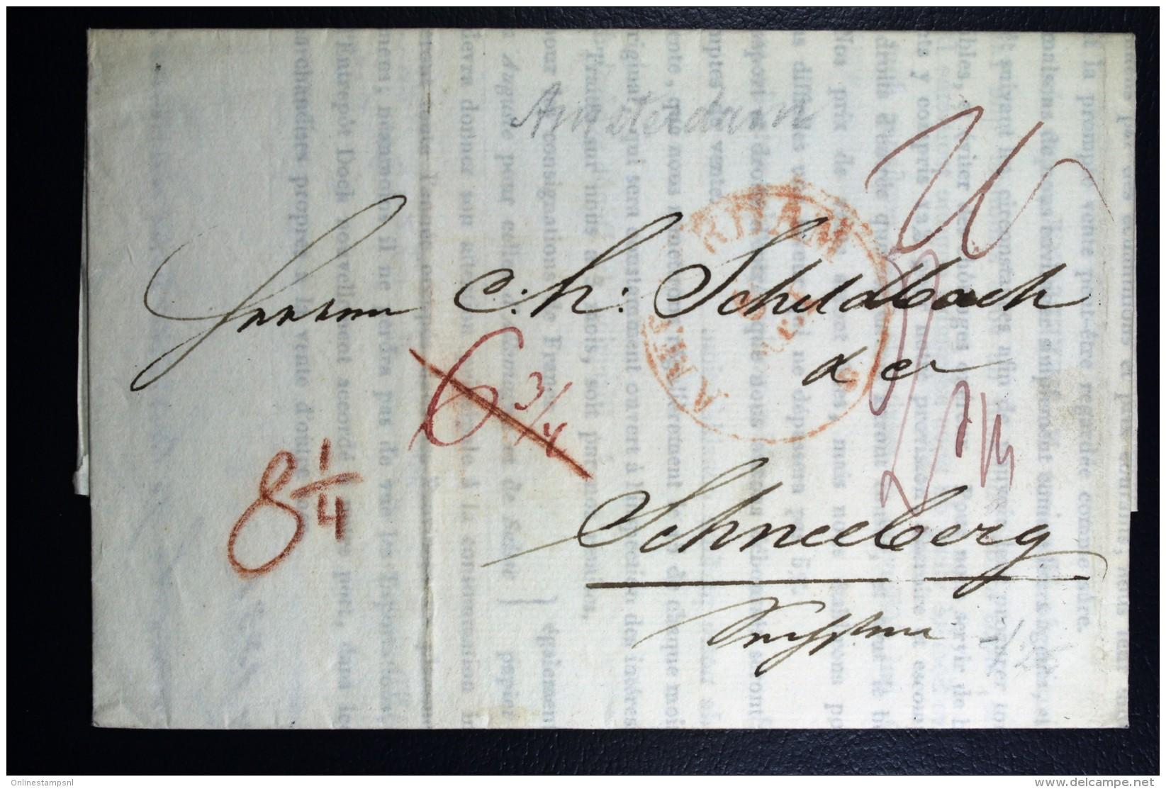 Complete Brief 1831 Amsterdam Naar Schneeberg Duitsland - Niederlande