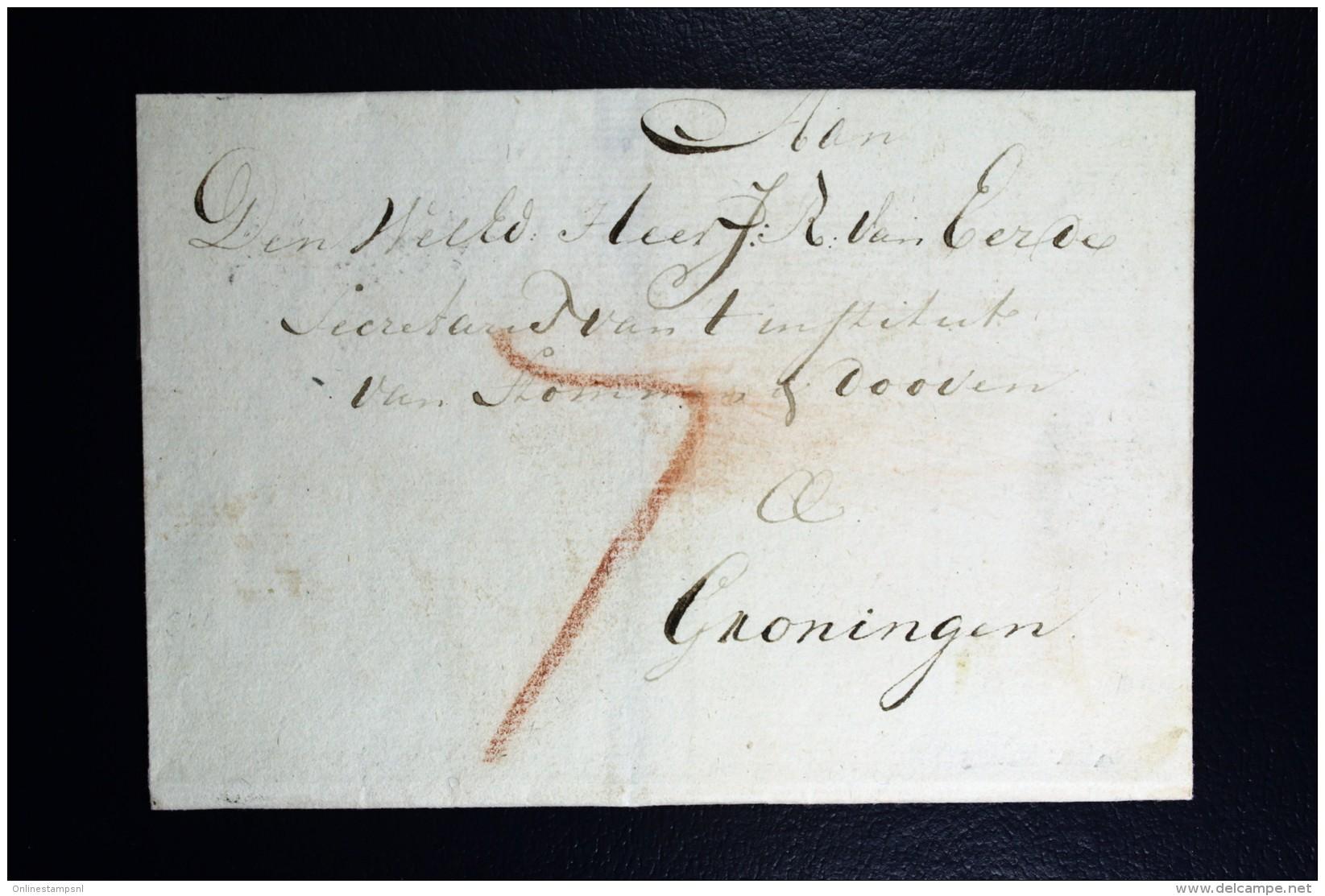 Cover Van SCHIEDAM Rond Stempel 27 Mm Geuzendam Type 2, RRR Naar Groningen 1810 - Niederlande