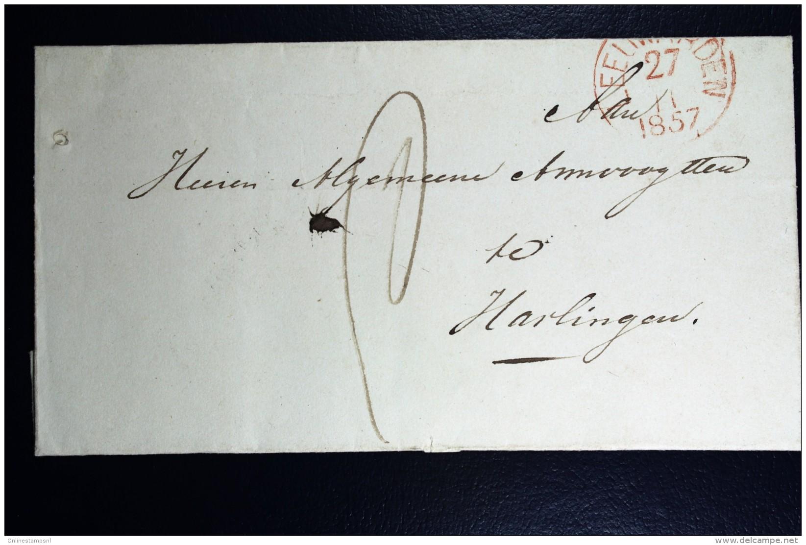 Cover Van HARDEGARYP Via Leeuwarden Naar Harlingen 1857 - Niederlande