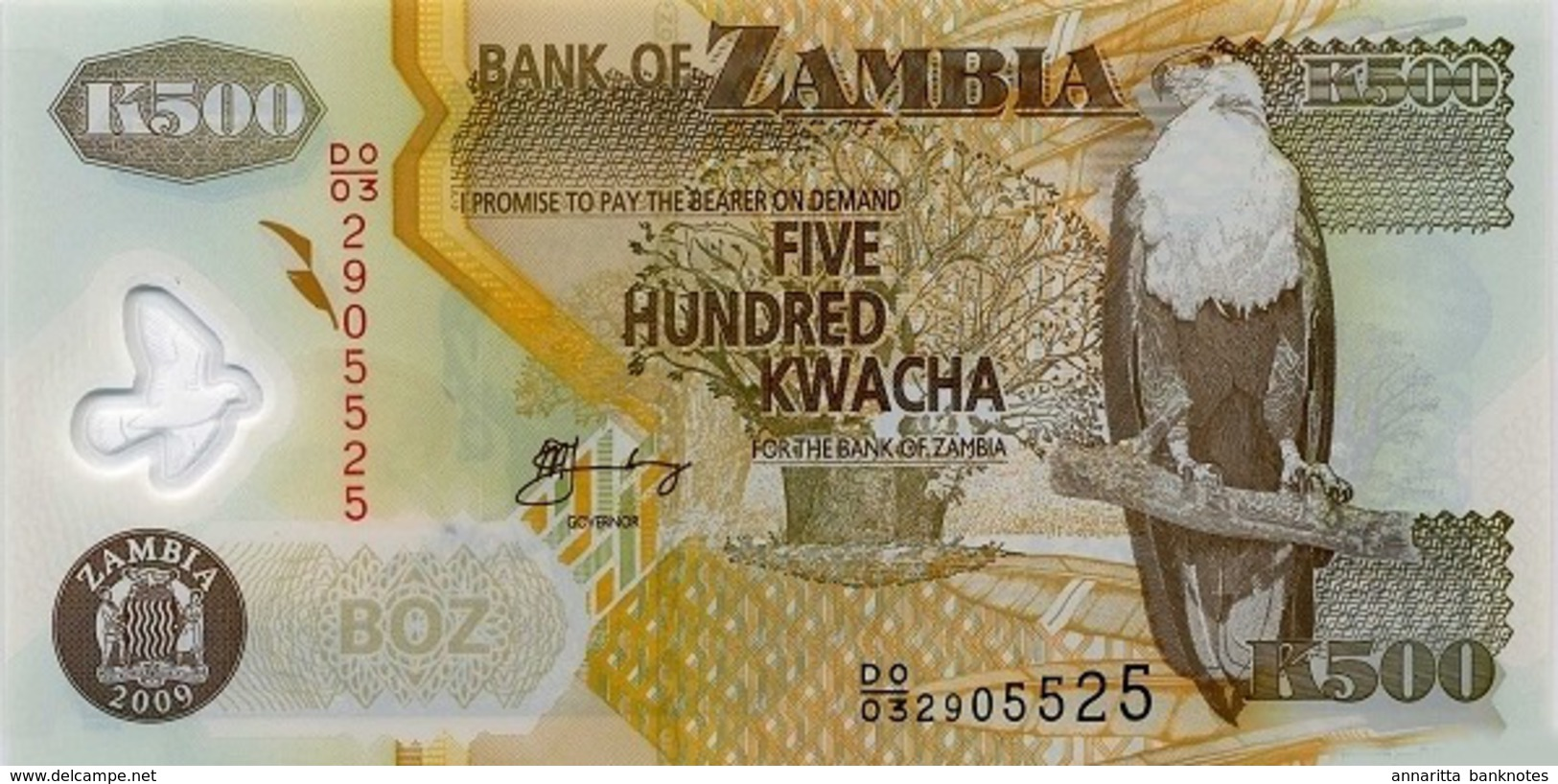ZAMBIA 500 KWACHA 2009 P-43g UNC [ZM145g] - Zambia