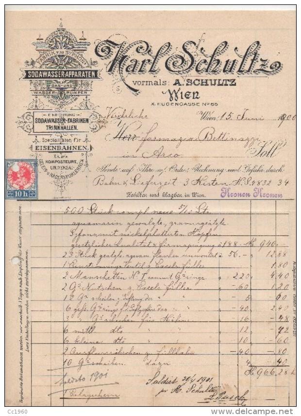 """Austria- Vienna- Fattura Della Ditta """" Karl Schultz""""  15.6.1900 Indirizzata Alla Farmacia Bettinazzi Di Arco- (BPLAST7) - Austria"""