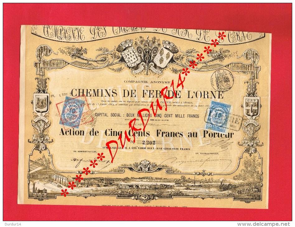 Action ... COMPAGNIE DES CHEMINS DE FER DE L´ORNE 1870 ? - ALENÇON MORTAGNE 1869 Timbres Fiscaux De 10 Centimes - Chemin De Fer & Tramway