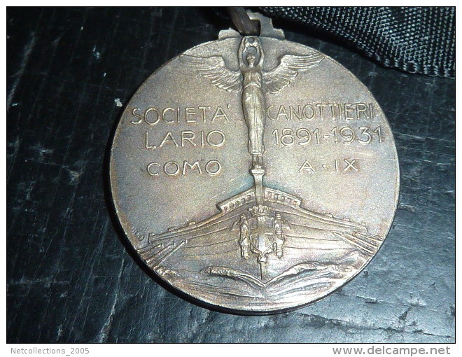 INSIGNE MEDAILLE - SOCIETA CANOTTIERI LARIO 1891-1931 COMO A.IX - Remo
