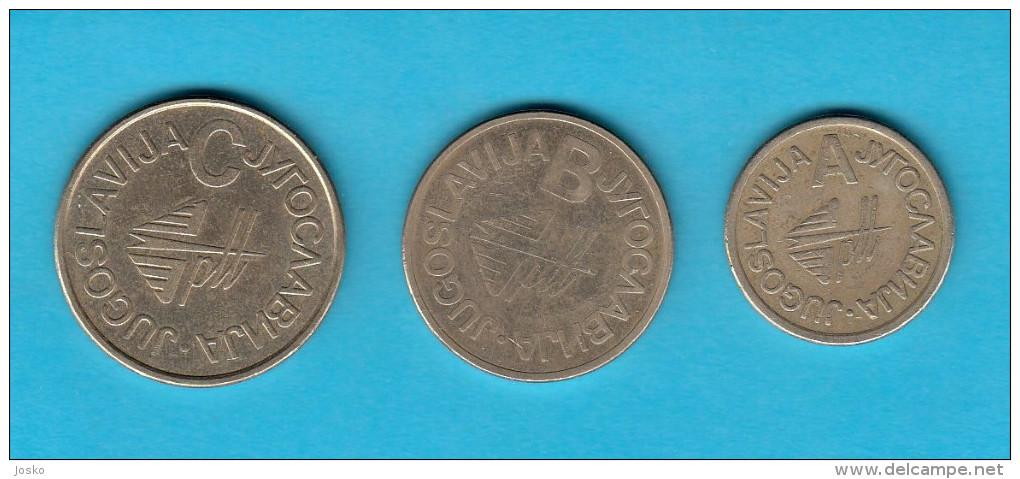 YUGOSLAVIAN POST - Complette Set Of 3. Telephone Tokens A - B - C Token Jeton Spielmarke Gettone Phone Telephones Phones - Tokens & Medals