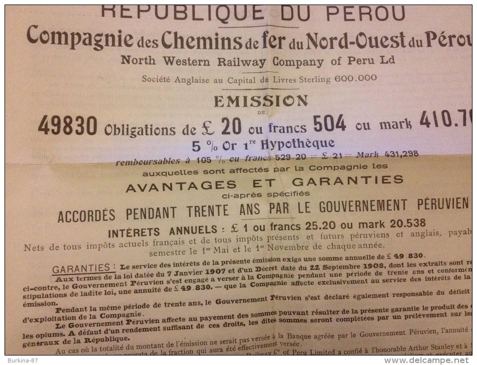 Compagnie Des Chemins De Fer Du Nord Ouest De Perou,1910, Publicité Pour La Vente D'Obligations - Chemin De Fer & Tramway