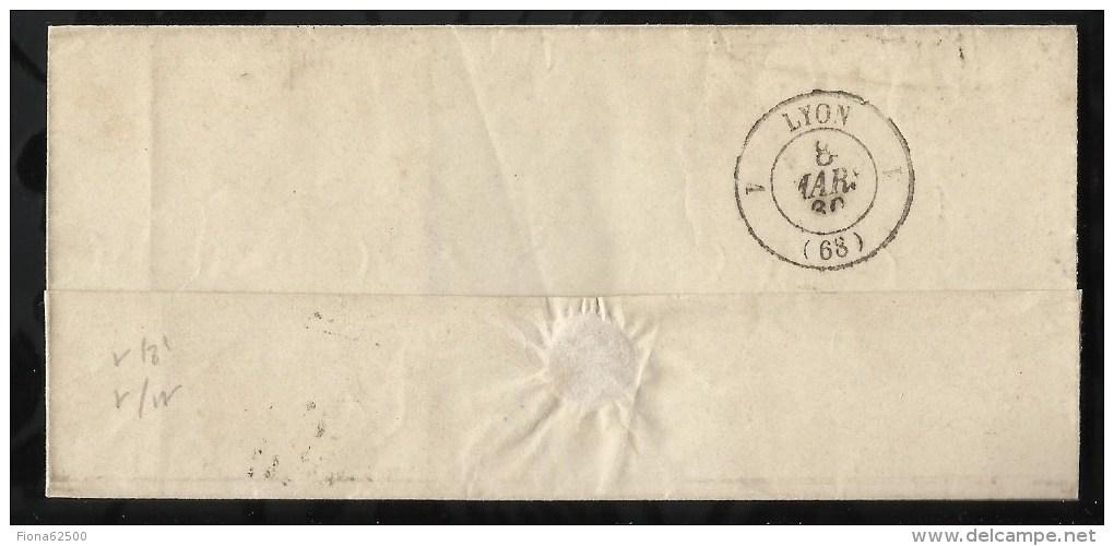 ENVELOPPE DATEE DU 07 MARS 1860 AU DEPART DE SAINT ETIENNE  A DESTINATION DE LYON . - 1849-1876: Période Classique