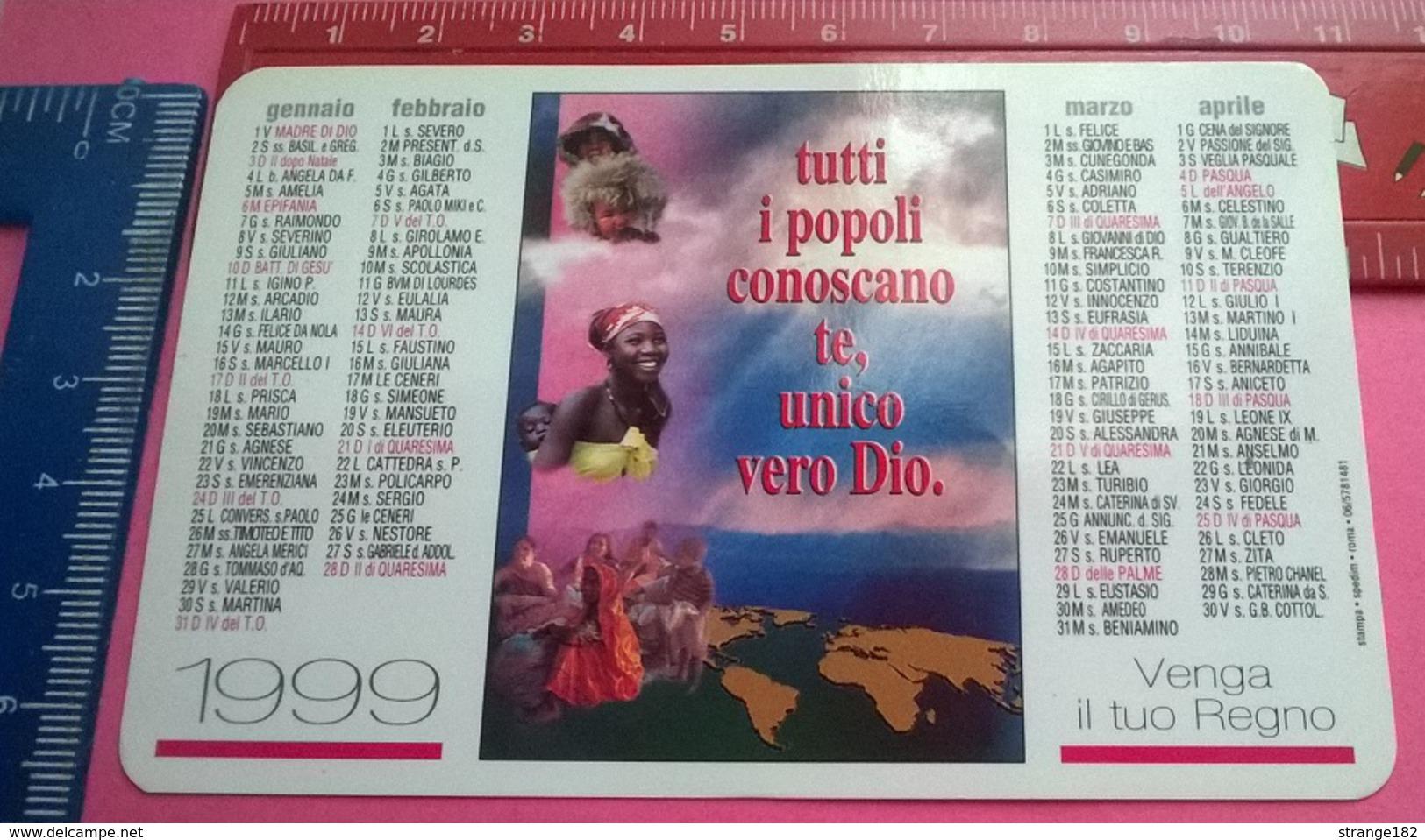 CALENDARIETTO 1999 PONTIFICIA OPERA PROPAGAZIONE FEDE - Formato Piccolo : 1991-00