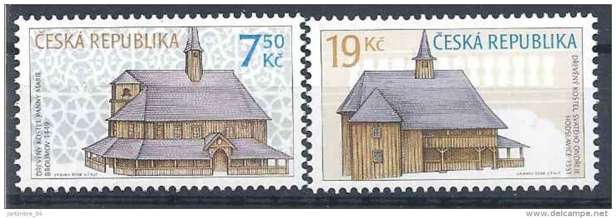 2006 Rép TCHEQUE 444-45** Architecture, églises En Bois - Tchéquie
