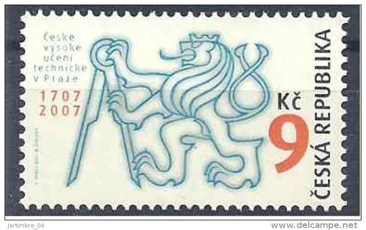 2007 Rép TCHEQUE 453** Lion Héraldique, Compas - Tchéquie
