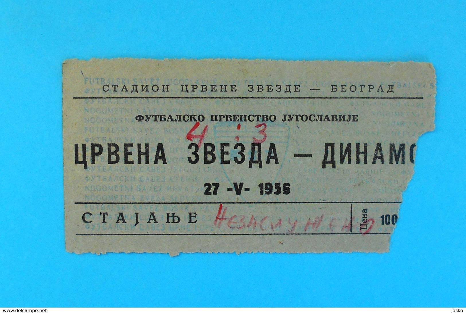 FK CRVENA ZVEZDA ( FC Red Star Belgrade ) Vs DINAMO Zagreb - 1956 Yugoslavia Premier League Football Match Ticket Soccer - Match Tickets