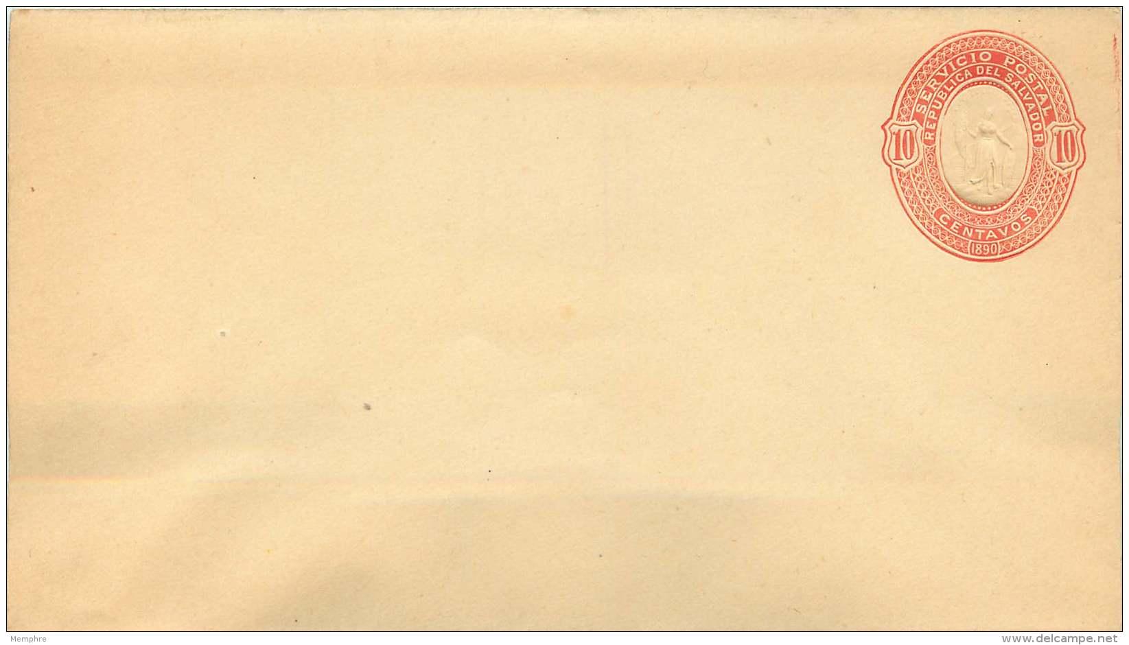 El Salvador  Postal Stationery   1890  10 Cent  - On Light Yellow  Wove - El Salvador