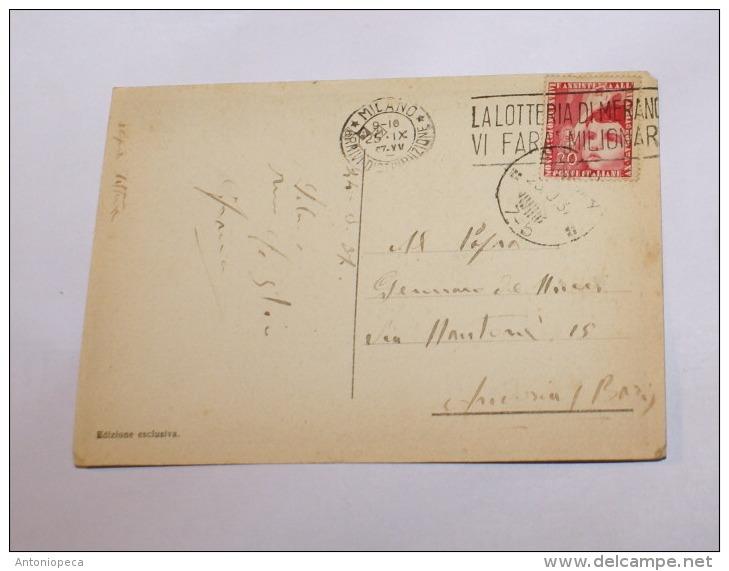 ITALIA REGNO 1937 - COLONIE ESTIVE CENT 20 SU CARTOLINA  DA MILANO A ANDRIA - Storia Postale
