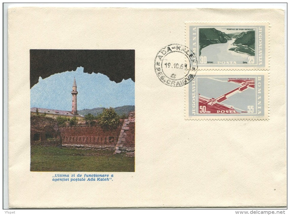 Ada-Kaleh, Last Day Of Post Office,  Cover 1968 - Post