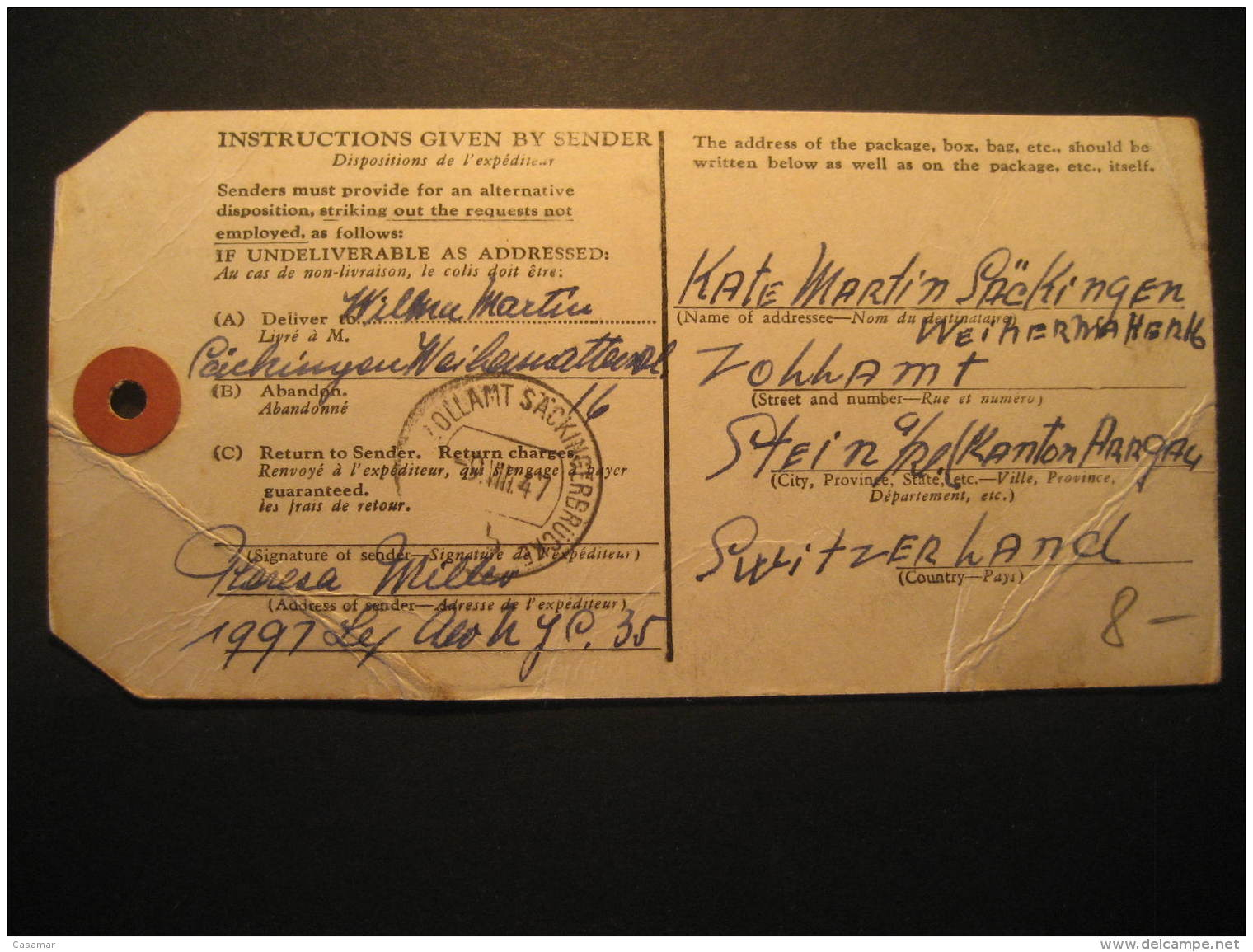 New York 1947 To Aargau Switzerland Customs Declaration Card USA - Covers & Documents