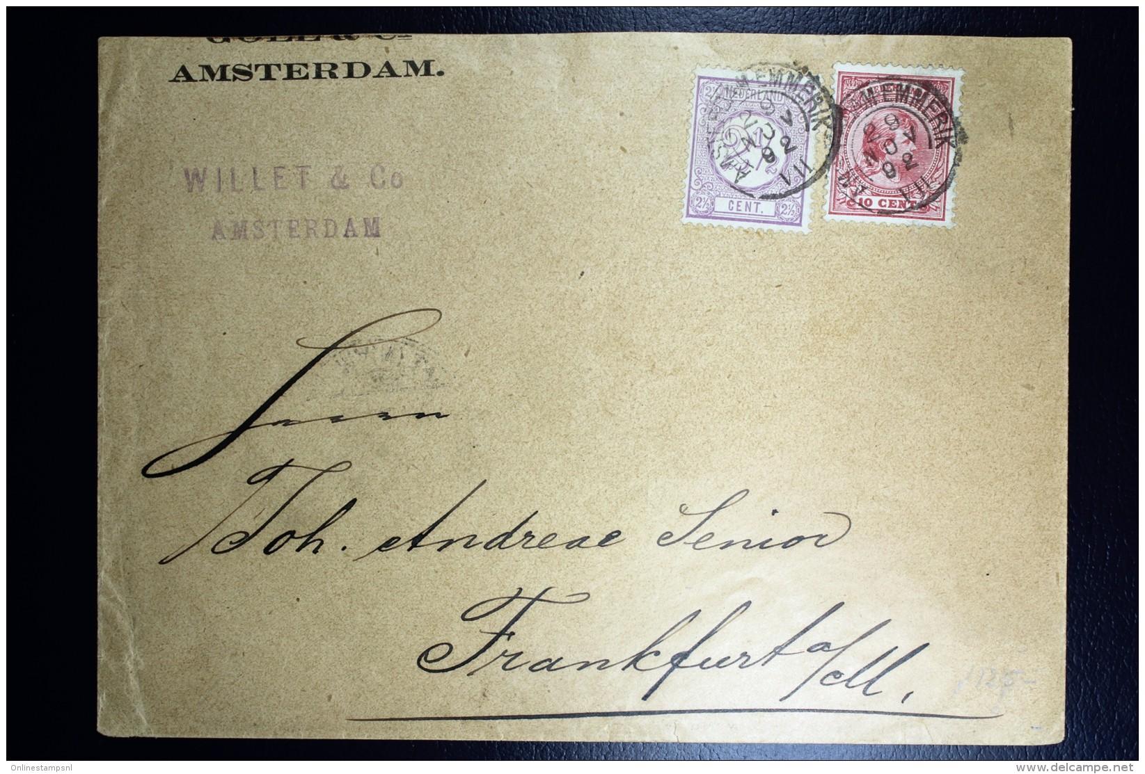 Nederland Enveloppe Amsterdam Frankfurt  Mengfrankering  NVPH 33 + 37  1892 - Brieven En Documenten