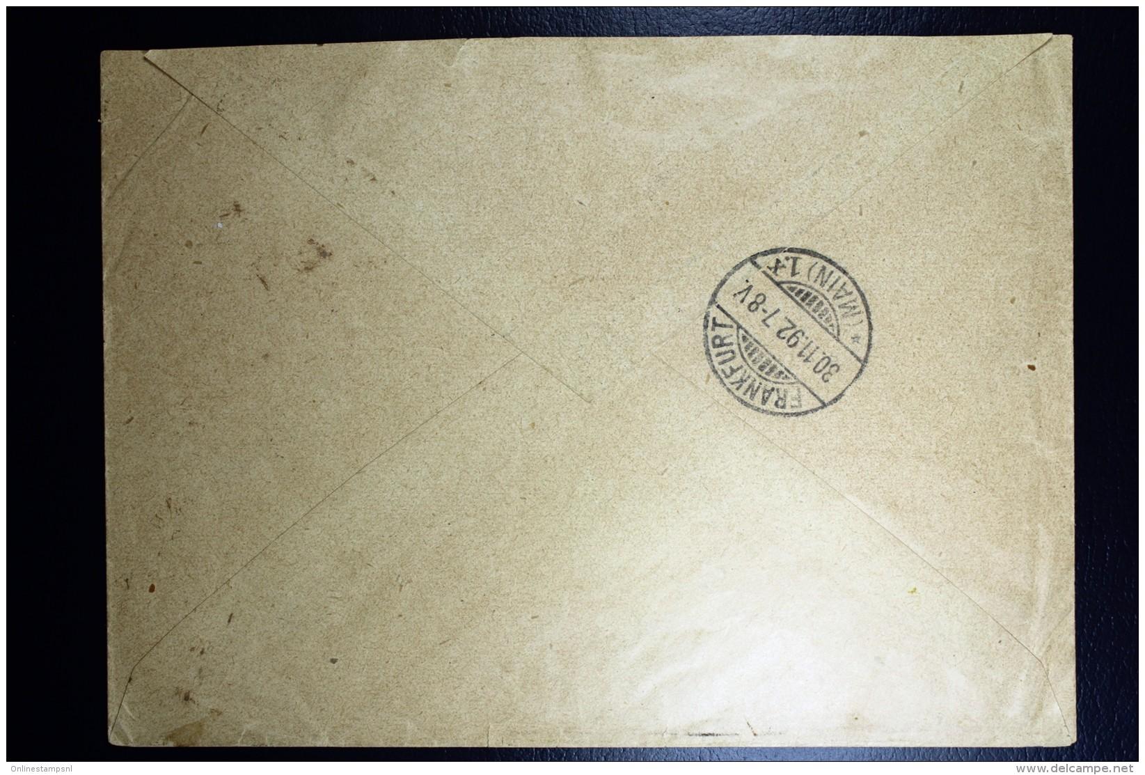 Nederland Enveloppe Amsterdam Frankfurt  Mengfrankering  NVPH 33 + 37  1892 - Periode 1891-1948 (Wilhelmina)